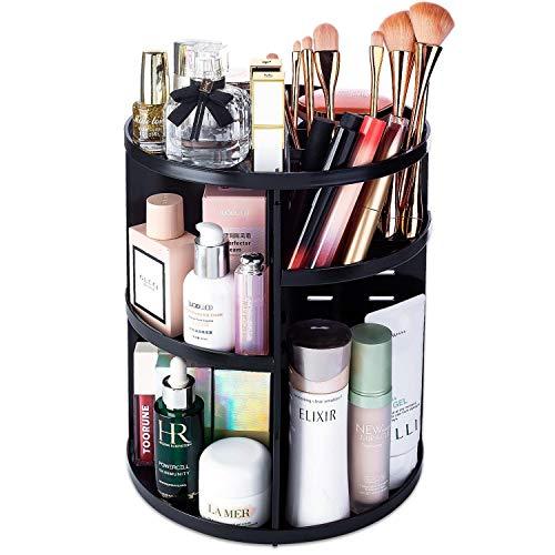 Rotating Makeup Organizer - 360 Spinning Makeup Organiser Storage Lazy Susan Rack for Perfume, Nail Polish - Premium Makeup Brush Holder for Dresser Vanity, Bathroom, Countertop -7 Adjustable Layers with 4 Trays for Cosmetics, Brushes, Creams - Black