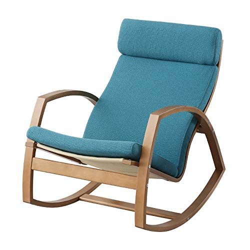 Sillón Mecedora Relax Nordic creativo mecedora, hogar Tiempo libre Apartamento pequeño balcón Almuerzo Presidente, cómodo sofá perezoso, curvado de madera del arte, gran cambio de ángulo (se puede ped