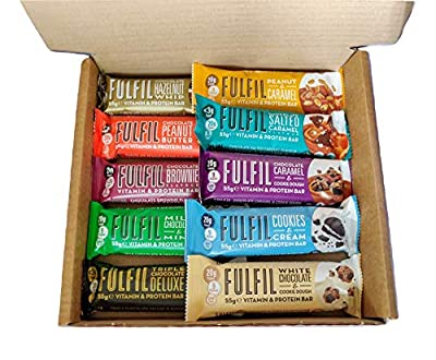 Fulfil Vitamin & Protein Bars Variety Pack - 10 x 55g Bars - One of Each Flavour - Low Sugar High Protein High Fibre - Contains 9 Vitamins (100% RDA) from Fulfil