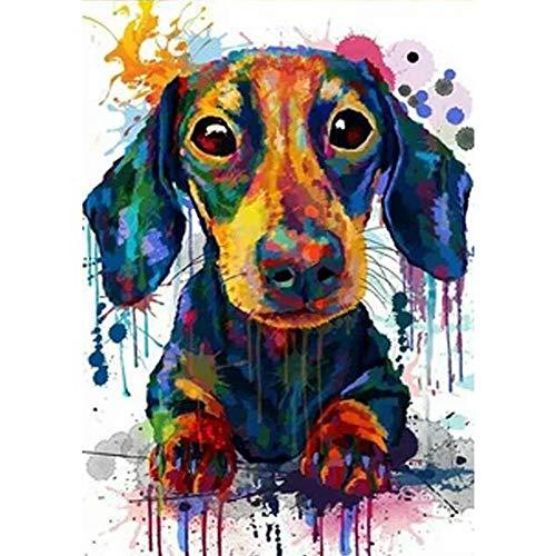 5D - Cuadro de punto de cruz, diseño de perro salchicha con diamantes, para decoración de pared (24 x 34 cm)