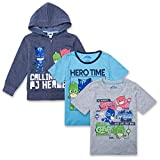 PJ Masks Hoodie Combo Set - 1 Hoodie & 2 T-Shirts Featuring Catboy, Gekko & Owlette Combo Set (Navy/Grey/Blue, 4T)