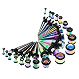 MagiDeal 36pcs Estensimetro Kit Piercing TunnelEspansione Spina Conica 14g-00g - Multicolore