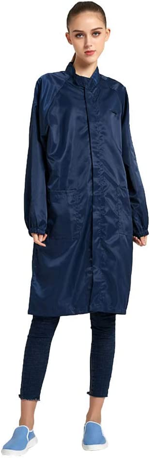 Small, Blue Long Sleeve ESD Gown with Zipper Unisex Anti-Static Lab Coat Non-Stretch Comfort Fit Stand Collar Uniform