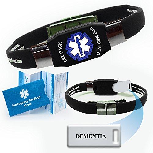 'Dementia' Elite Medical Alert ID Bracelet for Men and Women