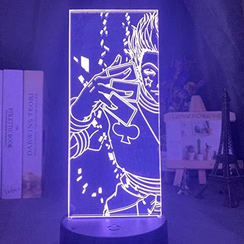 Lámpara de ilusión 3D LED luz de noche para niños Hisoka colorido para dormitorio infantil anime Hunter X Hunter decoración del hogar regalo de cumpleaños