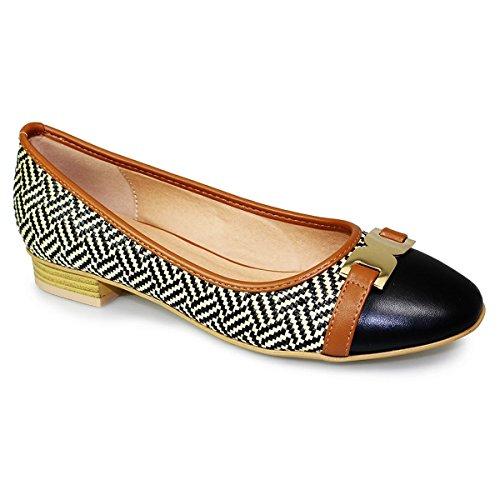 FANTASIA BOUTIQUE ® tressé antidérapant pour femme à talon bas en boucle or deux tons pompes chaussures plates - Noir - noir,