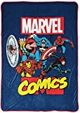 Marvel Comics Avengers Heroes Blanket - Measures 62 x 90 inches, Kids Bedding Features Captain America, Spiderman, & Iron Man - Fade Resistant Super Soft Fleece (Official Marvel Product)