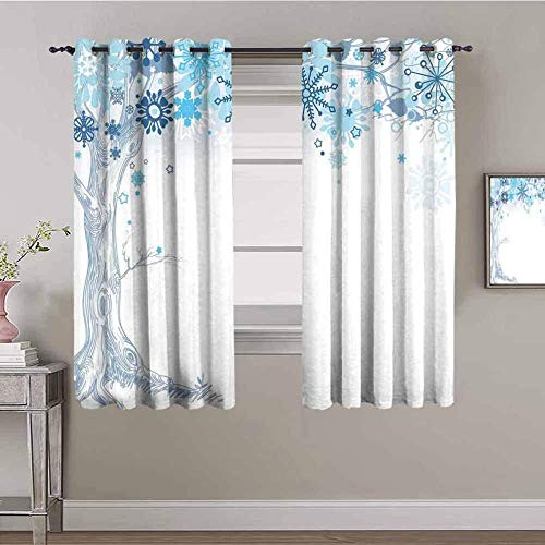 ZLYYH Living Room Curtains Blue art snow tree W90 xL90 Blackout Curtains for Bedroom, Pinch Pleated 95% Blackout Curtains with Liner, Thermal Insulated Curtains Living Room, Set of 2 Panels