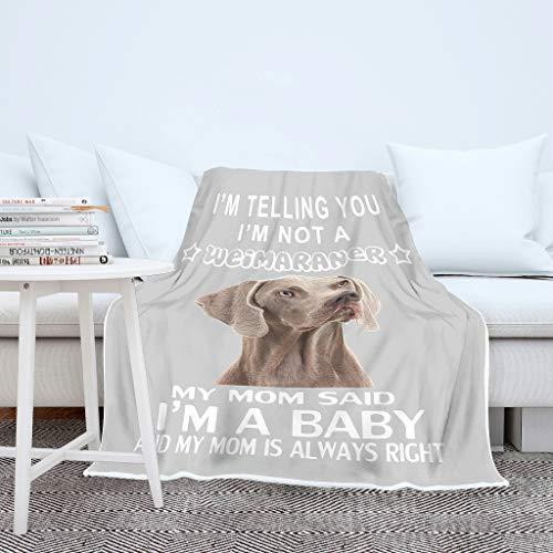 AXGM Manta para niños y niñas, manta para bebé, diseño de perro Weimaraner con divertido refrán en 3D, digital, muy cálida, 150 x 200 cm, color blanco