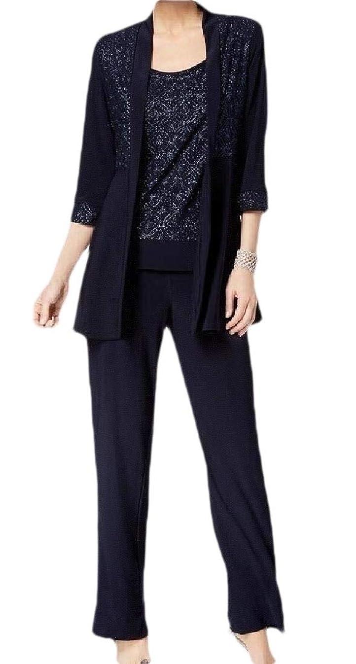 教会青ダッシュレディース3ピースパンツスーツ フォーマルシフォンロングスリーブジャケット衣装