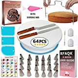 RFAQK 64 PCs Cake Decorating Supplies kit with Cake Turntable-Cake leveler-24 Numbered Piping