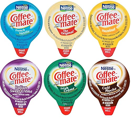 Coffee Mate Liquid Creamers, 6 Flavor Variety Pack, 36 Count with MYD Stirrer