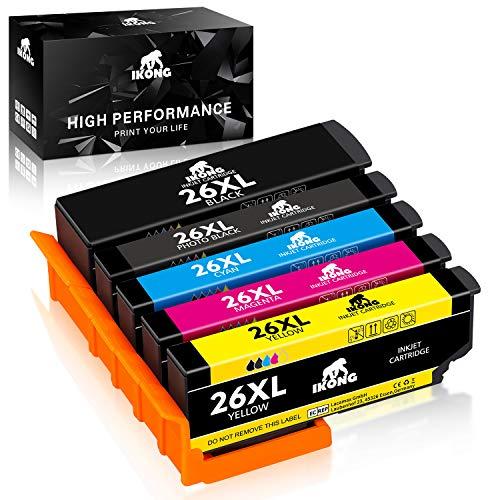 Cartuccia d'inchiostro IKONG 26XL compatibile in sostituzione di Epson 26 per Epson XP-510 XP-520 XP-600 XP-610 XP-620 XP-700 XP-710 XP-720 XP-800 (1 Nero,1 Nero Foto,1 Ciano,1 Magenta,1 Giallo)