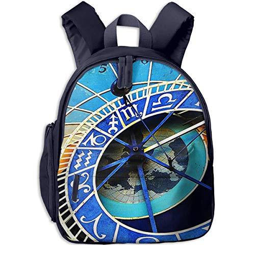 Mochila para Niños Reloj astronómico de Praga, Mochila Escuela Primaria De Edad Peso Ligero Pérdida Mochila De Viaje para Chico Chica