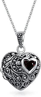 Engravable Garnet Marcasite Heart Locket Pendant Necklace For Women For Teen 925 Sterling Silver January Birthstone