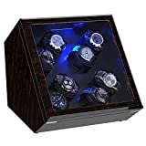 Watch Winder, [Newly Upgraded] Piano Finish Carbon Fiber Exterior and Soft Flexible Watch Pillows Automatic Watch Winder Box, 8 Winding Spaces with Built-in Illumination (Carbon Fiber)