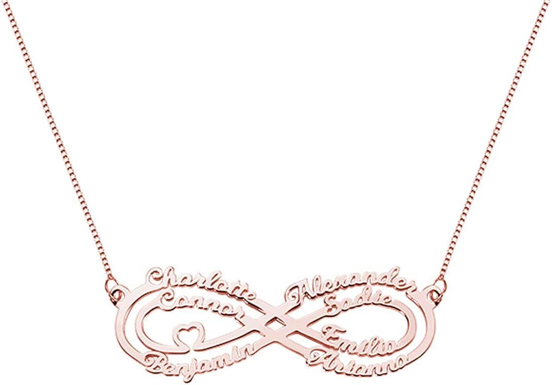 安い LUBES Carved Name Lady Infinity Symbol Rose Gold Necklace 賜物 Silver