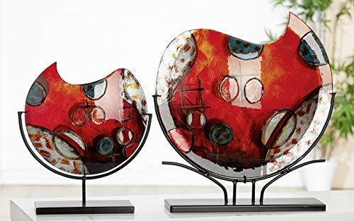 Soma Gilde glaskunst decoratie vaas Croce (BxHxD) 32 x 37 x 9,5 cm rood/goud/zilver/bl zwarte metalen houder
