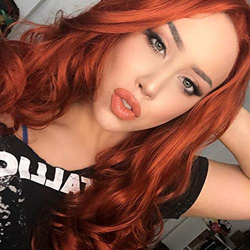 HEAHAIR Copper Red Body Wave Synthetic Lace Front Wig Heat Resistant Orange Wigs for Women