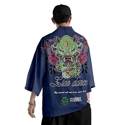 Chaqueta Kimono para Hombre Moda,Primavera y Verano Pantalones Holgados de Harén Traje,Cárdigan con Estampado de Diablo de Marca de Moda,Blue-Xlarge