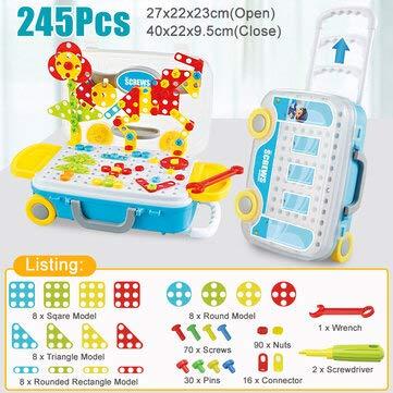 DyNamic Kinderen Elektrisch Boor Schroef Speelgoed Diy Montage Puzzel Kit Kinderen Educatief Speelgoed Cadeau - A