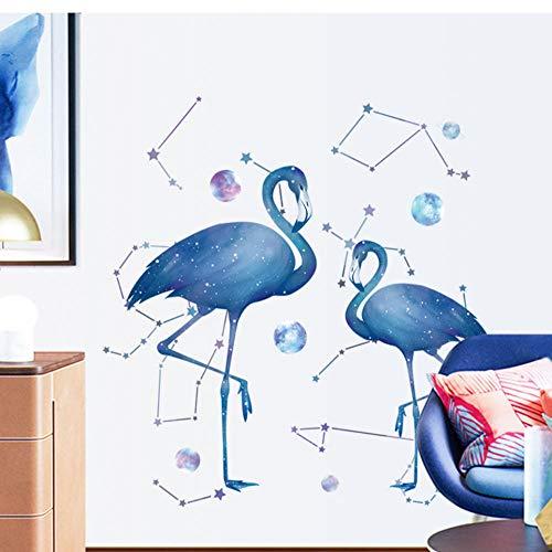 JHLP Muursticker sterrenflamingo Home Stikers Kinderkamer Decoratie Huisdecoratie Woonkamer Slaapkamer Nachtkastje Wanddecoratie 60x90cm