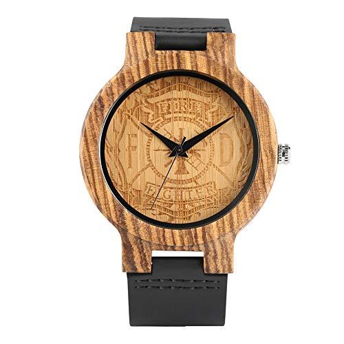 Orologio da uomo, in vera pelle di lusso creativo di legno legno orologi, distintivo carving modello legno orologio da polso ragazzo–Jlyshop