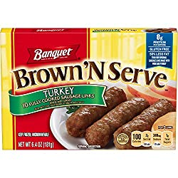 Banquet Brown 'N Serve Turkey Precooked Sausage Links, Keto Friendly, 6.4 Ounce Box, 10 Count