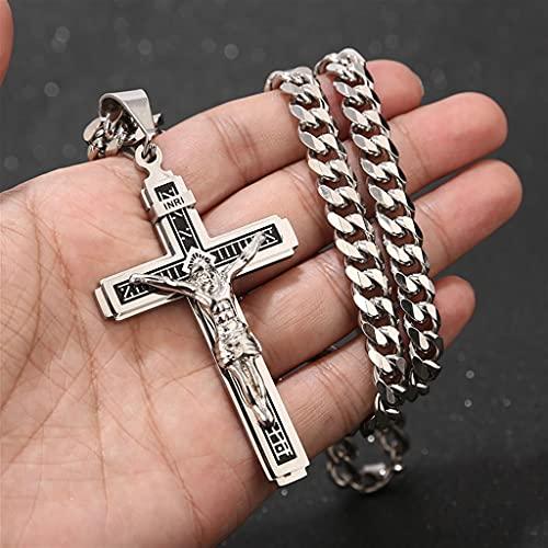 LWGOGM 1 Unids De Acero Inoxidable Crucifijo Jesús Cross Collar Colgante, Multilayer Jesucristo Crucifix Collares con 24 '' Cadena (Color : Style 1)