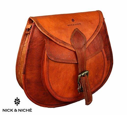 NICK & NICHE Genuine Handmade Leather Purse Crossbody Shoulder Bag Travel Satchel Women Handbag Ipad Bag 11L 10H inches …