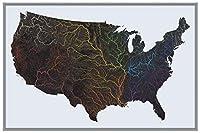 米国水晶マップ | 米国川と流域の地図 | 36インチ x 24インチ プレミアム紙使用 | 驚異的な川の細部 美しいカラーパレット | 水が好きな人への贈り物に最適 | 丸めて発送
