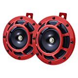 MKING Car Horn Motorcycle Horn Electric Loud 12V Super Tone, Double Truck Train Horns Waterproof , Air Horn Raging Sound 120DB for Car Motorcycle Trucks, Red