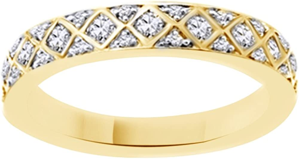 Jewel Zone US White Natural Diamond Anniversary Ring in 10K Solid Gold (0.5 Ct)