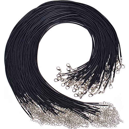 Single Color Black Bulk Perfect for Bracelet 20 Inches Long Bastex 100 Pieces of Waxed Necklace Cord with Clasp 1.5mm Thickness Necklace and DIY Jewelry Making
