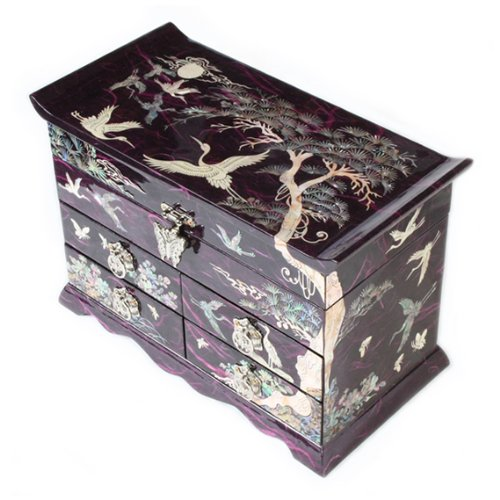 Mutter von Pearl Kran, und Kiefer Tree in violett Mulberry Papier Design Holz Schmuck Spiegel Schmuckkästchen Andenken Schatz Geschenk asiatische Lack Box Case Brust Organizer