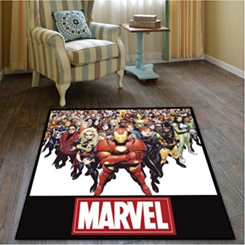 chengcheng Marvel Superhero Carpet Bedroom Habitación de los niños Vestíbulo Alfombra Antideslizante Suelo Silla Drum Pad 160x160cm