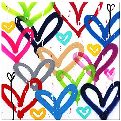 cuadrosGraffiti Colorful Love Heart Combinación de Carteles e Impresiones Pinturas en Lienzo Imágenes artísticas de Pared para la decoración de la Sala de Estar 15.7x15.7in (40x40cm) x1pcs SIN Marco