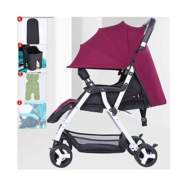 LAMTON Baby Stroller for Newborn, Baby Stroller Buggies Pushchair, Suitable for Children from 0 to 36 Months /20KG,47x67x103cm (Color : Purple) LAMTON Adjustable handlebars for people of all heights can adjust the most comfortable push position Easy to fold, can be picked up in the trunk of the car, his parents urge him to go shopping, travel, walk, play and talk, or picnic outdoors ★The body is made of high-quality steel pipe, strong and durable, strong load-bearing, soft pedals, safe and environmentally friendly, will not scratch the baby, strong toughness and durability 1