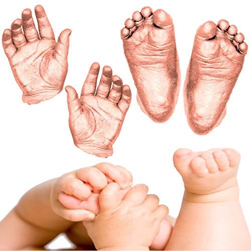 BabyRice Großes Baby-Hand- und Fußguss-Set, in Box, inkl. Metallic-Farbe (Kupfer)