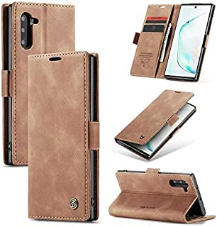 Flip Leather Case For Samsung galaxy note 10 - Light Brown