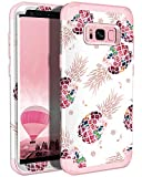 LONTECT Compatible Galaxy S8 Case Floral 3 in 1 Heavy Duty Hybrid Sturdy Armor High Impact Shockproof Protective Cover Case for Samsung Galaxy S8, Rose Gold/Pineapple