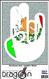 THE SHOCKER HAND - AUFKLEBER / AUTOAUFKLEBER - Decal Sticker 15cm außenklebend - weißer Umriss mit Fahne / Flagge - Mexico-Mexiko