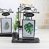 OUYAWEI Iron Luminous Hydroponics Plant Photo Frame Home Desktop Decoration LED Ornaments Silver