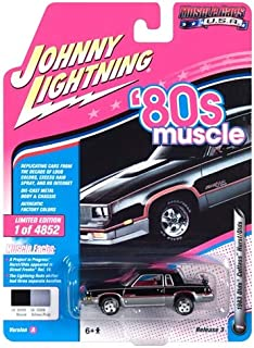 1983 Oldsmobile Cutlass Hurst Black and Silver 80's Muscle Limited Edition to 4,852 Pieces Worldwide 1/64 Diecast Model Car by Johnny Lightning JLMC014/ JLSP025 A