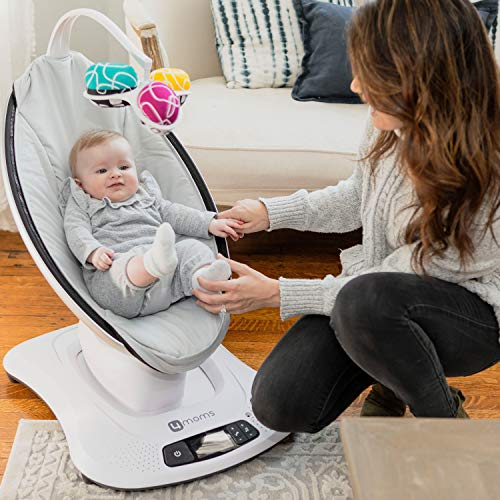 4moms mamaRoo 4 Baby Swing, Bluetooth Baby Rocker with 5 Unique Motions, Smooth, Nylon Fabric, Grey Classic