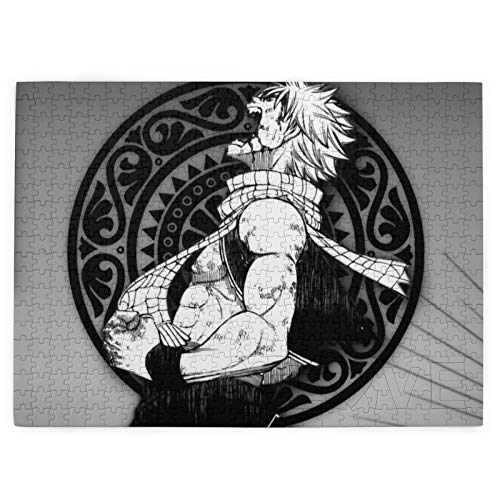 520 Piece Puzzles Natsu Dragneel Scarf Male Black and White Puzzles for Kids & Adults