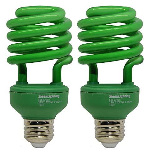 SleekLighting 23 Watt T2 Green Light Spiral CFL Light Bulb,- UL Approved- 120V, E26 Medium Base-Energy Saver (Pack of 2)