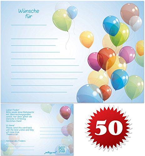 galleryy.net 50 Ballonflugkarten zur Hochzeit GELOCHT, Flugkarten für Hochzeitsballons im Set zum Hochzeitsspiel im Ballonflugkartenset - Hochzeit Bunte Luftballons