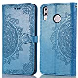 Asus Zenfone 5z ZS620KL Lederhülle Yunbaozi PU Wallet Hülle Mandala-Totem-Muster Pure Farbe Schutzhülle Standfunktion Hülle mit Karten Schlüssel Halter, Blau