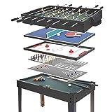 Mendler Tischkicker HWC-E12, Tischfussball Billard Hockey 7in1 Multiplayer Spieletisch, 82x107x60cm ~ schwarz